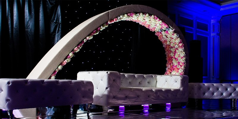 Upholstered arbor wedding and anniversary decorations houston tx wedding stage arbor junglespirit Image collections